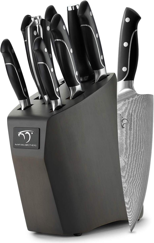 Cuchillo de Cocina Profesional, Bloque de madera Set Cuchillos Cocina de Acero Damasco con 9 Piezas ,Cuchillos de Chef by NANFANG BROTHERS