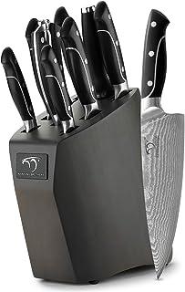 Couteau de Cuisines, Set Couteaux Acier Inoxydable Damas 9 Pieces, Bloc de Couteaux avec Couteau de Chef, Bloc en Bois, Lo...