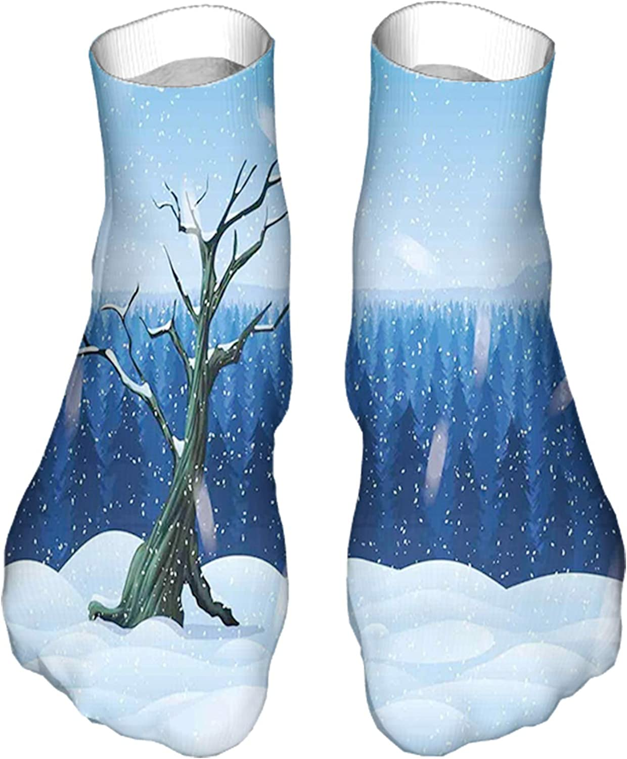Women's Colorful Patterned Unisex Low Cut/No Show Socks,Cold Snowy Landscape with Deep Winter Forest Hillside