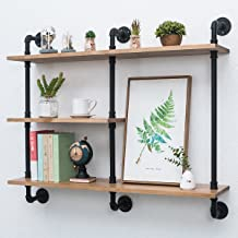 Industrial Pipe Shelf with Wood 43.3in,Rustic Wall Mount Shelf 3-Tiers,Metal Hung Bracket Bookshelf,DIY Storage Shelving Floating Shelves