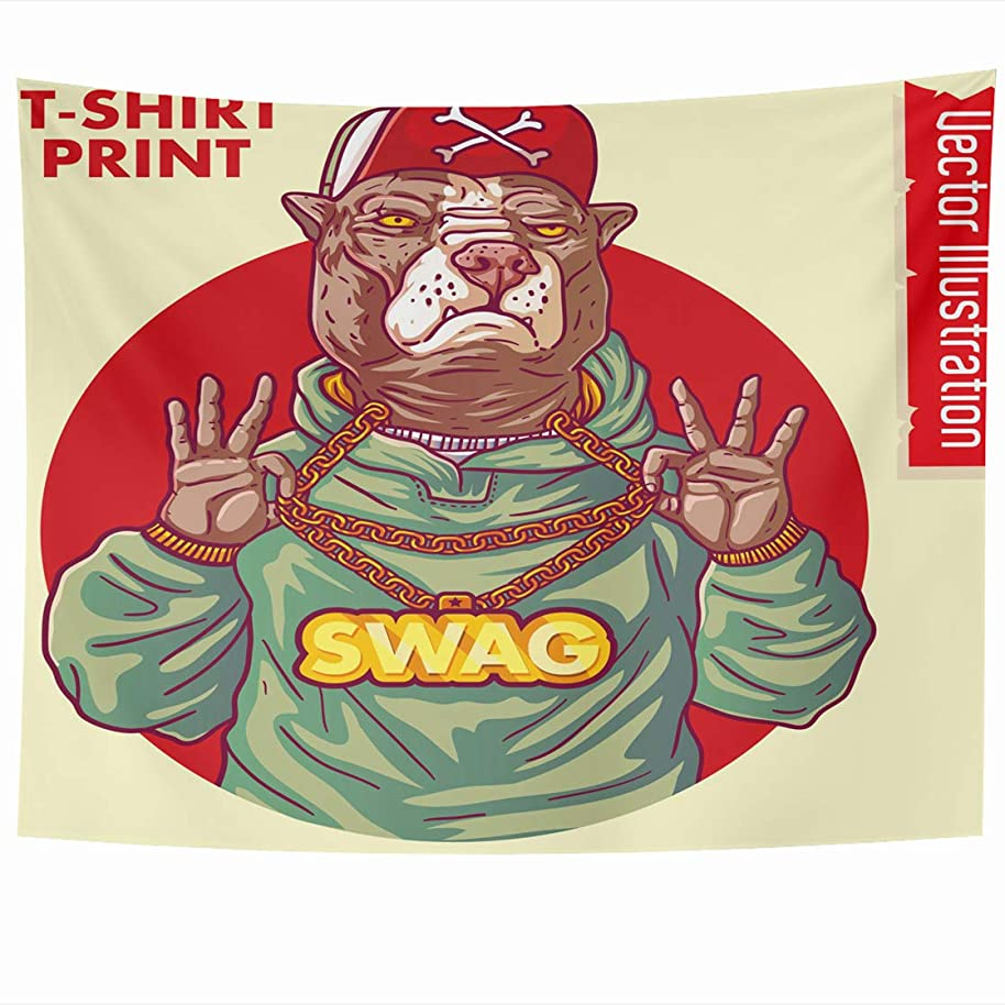 AlliuCoo Wall Tapestries 80 x 60 Inches Staffordshire Terrier Rap Gangster Swag Pitbull Holds Gold Chain Hands Dog Hipster Rapper Home Decor Wall Hanging Tapestry Living Room Dorm
