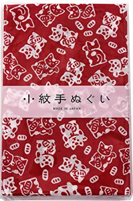 Miyamoto-Towel 宮本 日本製 手ぬぐい 小紋 和柄 泉紅梅 33×90cm 招きねこ 33477