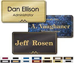 Personalized Name Tags with Pin, Magnetic or Adhesive Backing, Choice of 15 Colors, 1.5