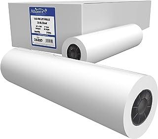 "Alliance CAD Paper Rolls, 24"" x 300', 96 Bright, 20lb - 2 Rolls Per Carton - Ink Jet Bond Rolls with 2"" Core"