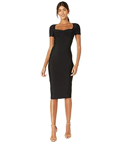 BCBGMAXAZRIA Fitted Short Sleeve Cocktail Dress (Black) Women