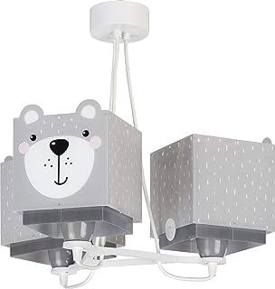 Dalber Little Teddy Lámpara Infantil de Techo 3 Luces Oso Animales, 60 W, Gris