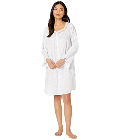 Eileen West Cotton Lawn Woven Long Sleeve Button Front Nightshirt (White Ground/Floral/Stripe) Women