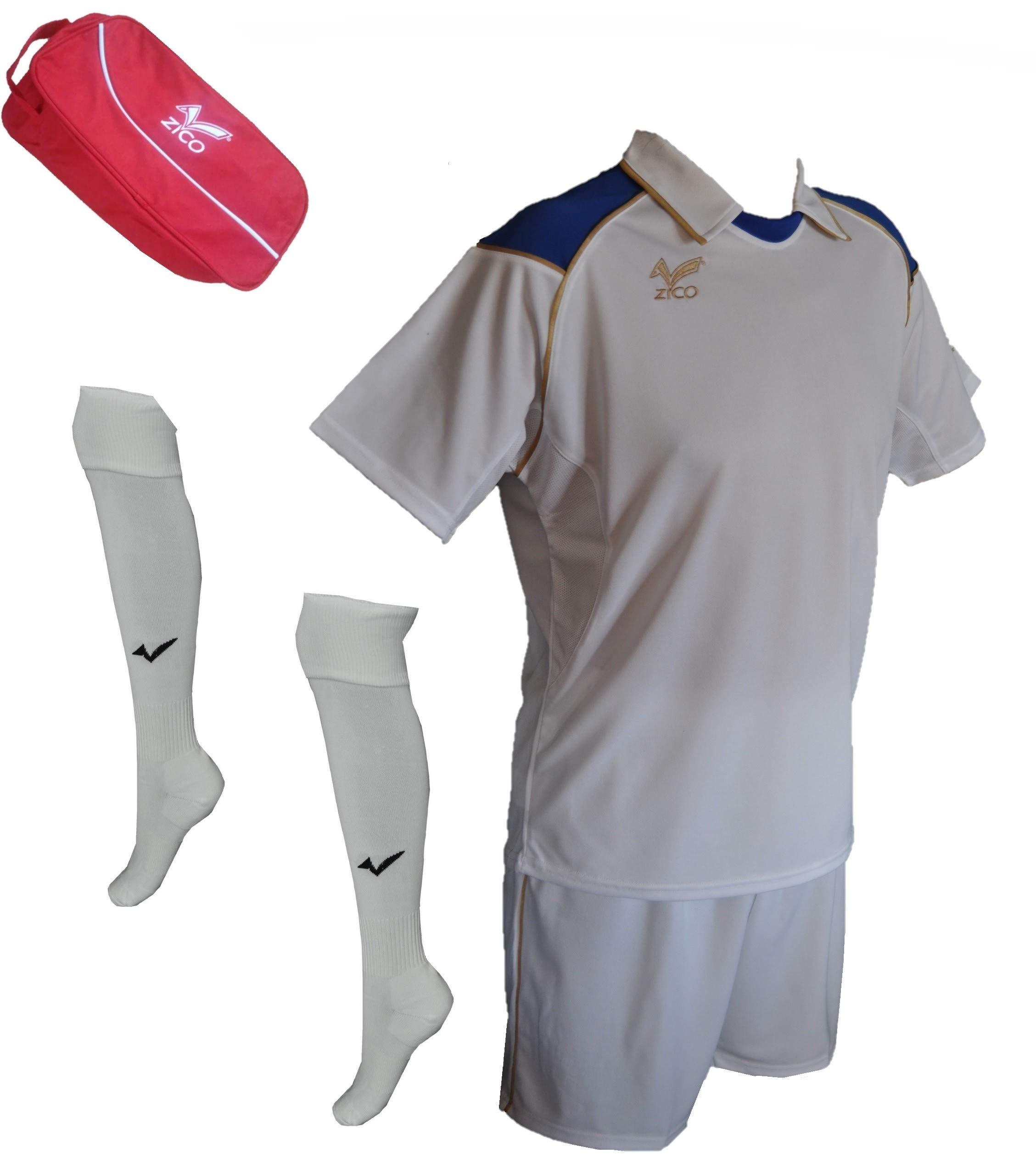ZICO ESPAÑA Conjunto equipación Fútbol Hombre Blanco- Azull, Camiseta-pantalón+Medias, (L): Amazon.es: Deportes y aire libre
