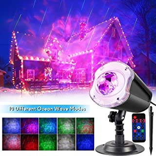Christmas LED Projector Lights,2-in-1 Ocean Wave with Motion Meteor Shower Landscape Holiday Night Lights Remote Waterproof Outdoor Indoor for Xmas Party Yard Garden Wall Decorations,10 Colors
