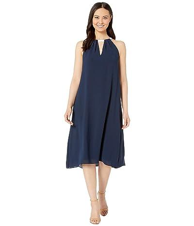 Adrianna Papell Color Block Trapeze Halter Dress (Blue Moon/Ivory) Women