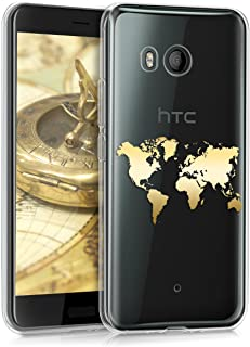 kwmobile TPU Case for HTC U11 - Soft TPU Silicone Cover - Crystal Clear Back Case IMD Design - Gold/Transparent