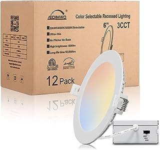"Sponsored Ad - Ledimwo 6 inch 12W 3000K/4000K/5000K Color Selectable Led Recessed Lighting, 6"" Led Ceiling Light, led can ..."