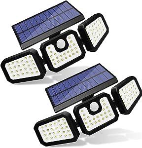 Solar Motion Sensor Lights Outdoor, ZHUPIG Wireless LED Solar Lights Outdoor with 3 Adjustable Heads, IP65 Waterproof 270° Wide Illumination Solar Powered Flood Lights for Garage, Yard, Garden( 2Pack)