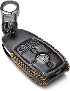 Vitodeco Genuine Leather Smart Key Fob Case Cover Protector with Leather Key Chain for 2017-2020 Mercedes-Benz E-Class, 2018-2020 Mercedes-Benz S-Class (4-Button, Black)