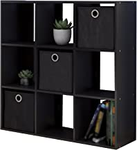 Z/D Cube Bookcase Storage Organizer Unit w/ 9 Cubby-Inspired Wooden Shelves & 3 Foldable Bin Drawers for Home Office Use & Decoration in Espresso Black Color