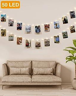 Kolpop Colgar Fotos de Luces, 5m 50 Led Clip Cadena de Luces LED 30 Pinzas Para Fotos Fotoclips Guirnalda de Luces Pinzas con Luz para Colgar Fotos Por decoración, Habitaciones, Bodas,Cumpleaños