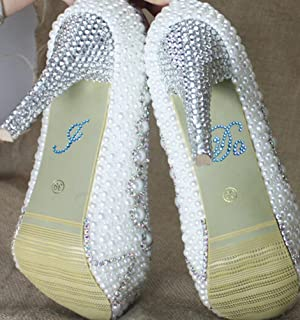 Wedding Shoe Stickers Crystal Rhinestone Applique Blue Rhinestones Stickers for Shoes for Bride (I Do, Blue)