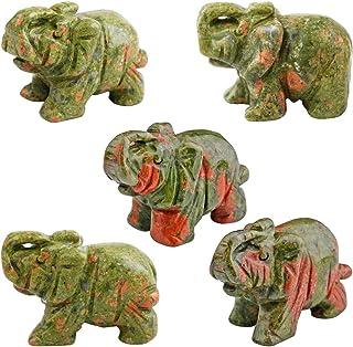 """SUNYIK Amuleto de pedra preciosa com bolso para elefante para decoração de estatueta, Green/Red, 1.5"""", 1"""