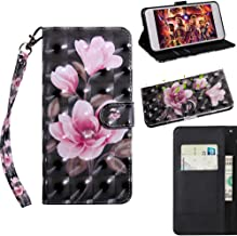 XYX Wallet Case for Xiaomi Redmi 6A,Painted Design PU Leather Phone Case Flip Folio Protective Cover with Wrist Strap (Black Pink Flower)