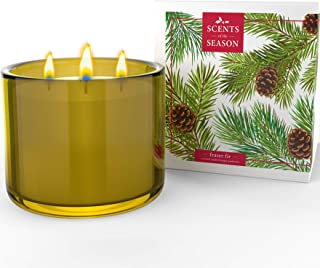 Frasier Fir 3 Wick Scented Candle | Non-Toxic Long Burning Soy Candles | Festive Home Fragrance | 16 oz Heavy Glass Jar | ...