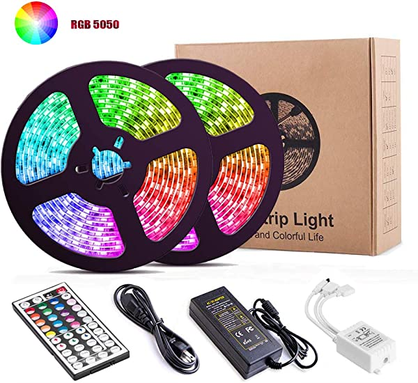 LED Strip Lights YORMICK 32 8Ft 10M 300LED Light Strip SMD 5050 Waterproof Flexible RGB Strip Lights With 44 Keys IR Remote For Ceiling Bar Counter Cabinet Lighting Decoration RGB 10M IR