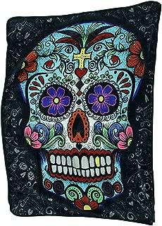 Zeckos Day of The Dead Sugar Skull Plush Throw Blanket 50 X 60 in.