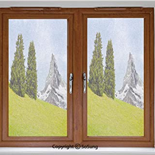 24x42 inch Decorative Static Cling Frosted Privacy Window Film,View of Mountain Matterhorn in Peaceful Summer with Sun Rays Meadow Print Glass Film for Window Glass Panels,UV Protection,Energy Saving