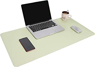 """YSAGi Multifunctional Office Desk Pad, 35.4"""" x 17"""" Ultra Thin Waterproof PU Leather Mouse Pad, Dual Use Desk Writing Mat for Office/Home (35.4"""" x 17"""", Light Green)"""
