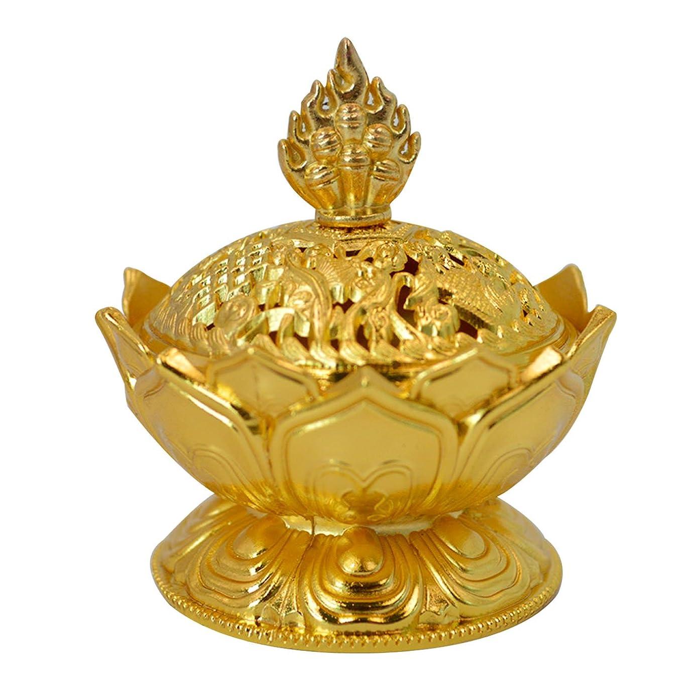民間麦芽つぼみBuddha Lotus Flower香炉合金メタルIncense Holder Censerクリエイティブクリスマスプレゼント One Size ゴールド
