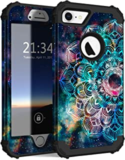 Hocase iPhone 8 Case iPhone 7 Case, Shockproof Protection Heavy Duty Hard Plastic+Silicone Rubber Bumper Full Body Protective Case for iPhone 8, iPhone 7 (4.7-Inch Display) - Mandala in Galaxy