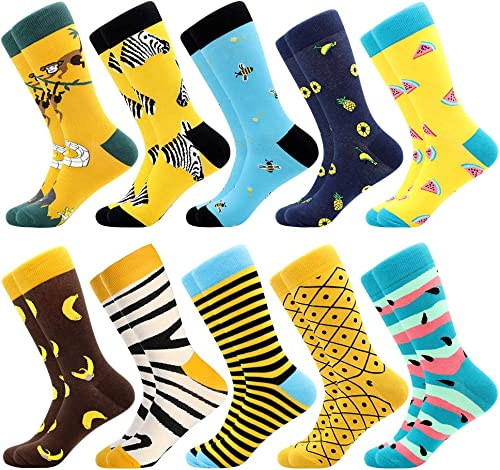 Men's Fun Dress Socks, Colorful Funky Socks for Men, Fancy Novelty Funny Patterned Casual Combed Cotton Office Socks,...