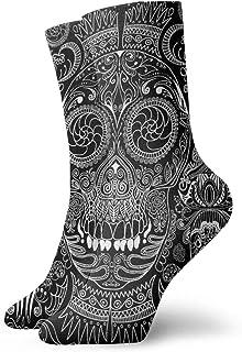Black White Sugar Skull Crew Socks for Men - Men's Sport Socks - Athletic Socks