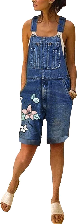 Women's Floral Print Casual Direct stock discount Max 79% OFF Denim Shorts Jeans Romp Overalls Bib
