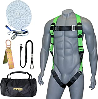 AFP 50FT Fall Protection Roofer Kit Braided Vertical Lifeline w/Rope Grab, 1 D-Ring Safety Harness, Hinged Anchor, Ballist...
