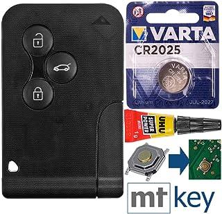 Autoschlüssel Karte Funk Fernbedienung Austausch Gehäuse mit 3 Tasten + Notschlüssel Rohling + Drucktaste + Batterie kompatibel mit Renault Megane 2 Scenic 2 Clio 3