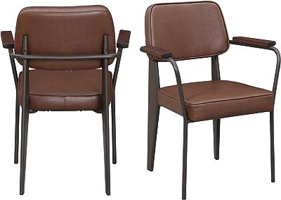 Abbey Avenue BS-KAN-100CHPE Kane PU Chair Set, Cognac