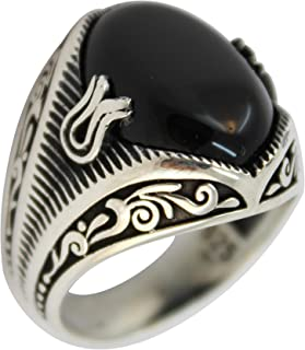 Solid 925 Sterling Silver Jewelry Onyx Men's Ring