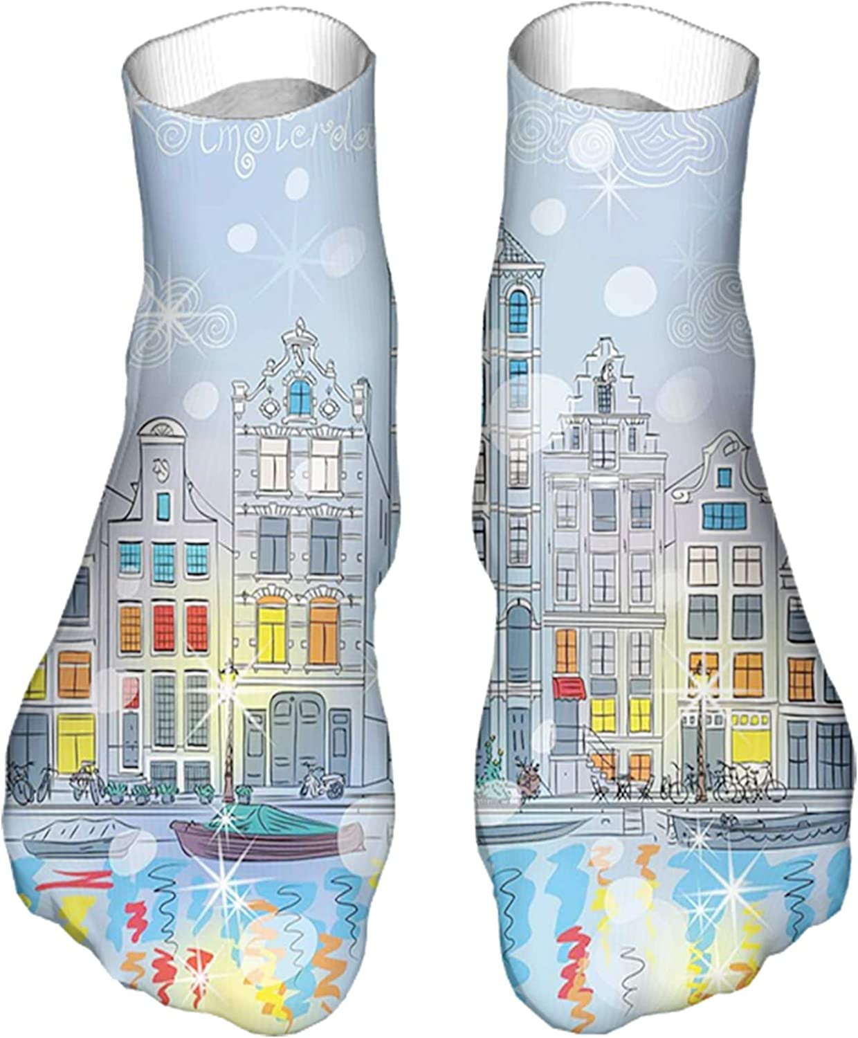 Men's and Women's Funny Casual Socks Noel Time at Amsterdam Canal with Historical Famous Building
