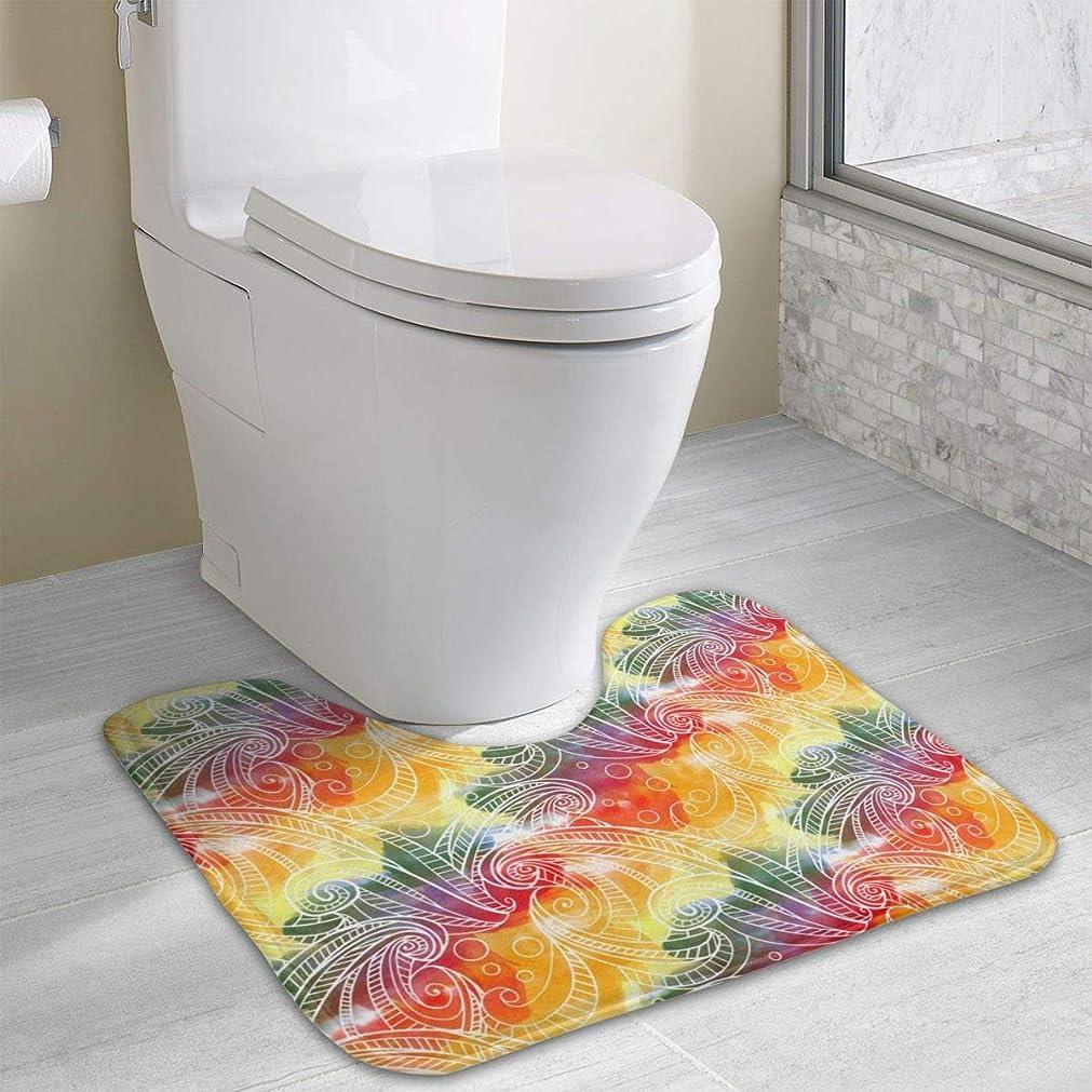 強調するドラッグ強調するハワイレインボーウェーブ_1802風呂の敷物、マイクロファイバー抗菌U字型トイレ床敷物シャワーマットシャギー滑り止めスリップバスルームカーペット19