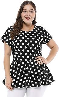 Agnes Orinda Women's Plus Size Polka Dot Short Sleeve Summer Peplum Top
