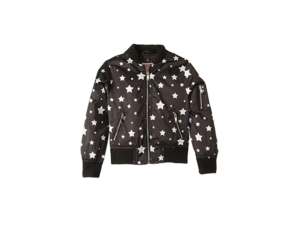 Urban Republic Kids Luna Sateen Star Print Bomber Jacket (Little Kids/Big Kids) (Black) Girl