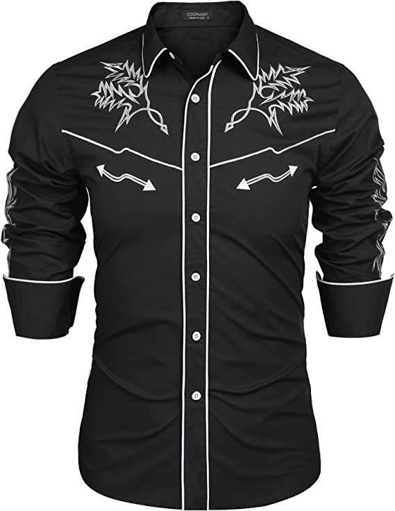 Men's Vintage Clothing | Retro Clothing for Men COOFANDY Mens Western Cowboy Shirt Embroidered Denim Long Sleeve Casual Button Down Shirt  AT vintagedancer.com