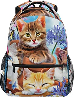 Mochilas Tipo Casual Cats Garden Wonders School Backpack Lightweight Large Capacity Daypack Bookbags Travel Bag for College Student Laptop