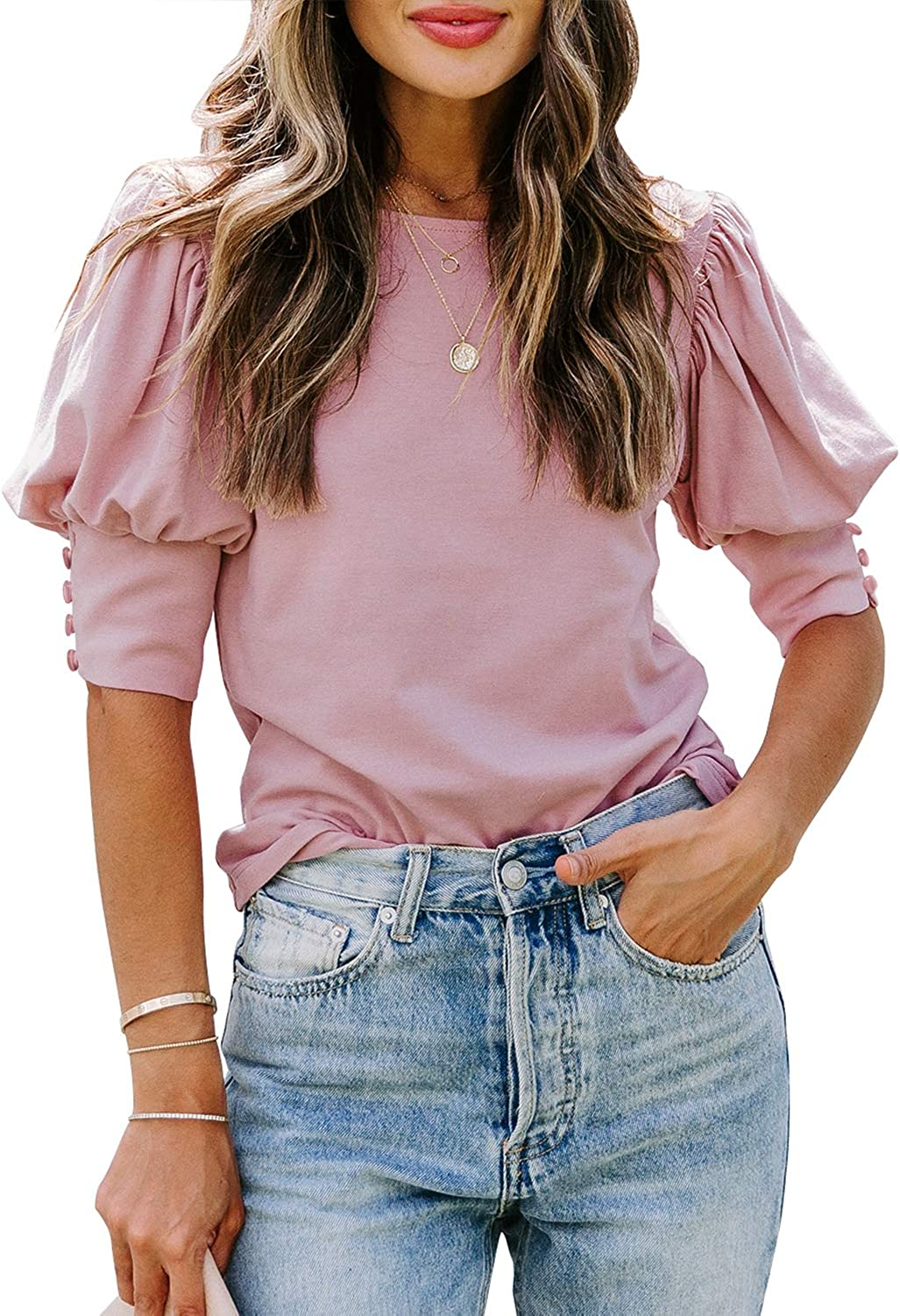 DOROSE Women's Casual Tops Puff Sleeve Loose Blouses T Shirts