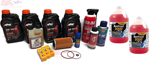 SeaDoo 4-TEC PWC Winterization & Oil Change Kit w/Camco Anti-Freeze 2000 30627 155/185/215/255/260 GTX GTI RXP RXP-X RXT-X GTR with BRP XPS 5W40 293600121 NGK DCPR8E Spark Plugs Star-Tron