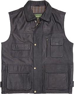 HIDEPARK Alf: Men's Black Leather Vest
