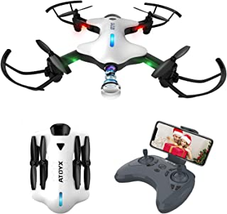 ATOYX Drone Plegable Drone con Cámara para Principiantes y Niños 720P con Control Remoto WiFi FPV en Tiempo Real Una Tecla de Despegue/Aterrizaje Gravedad Sensor AT-146