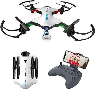 ATOYX Drone Plegable, Drone con Cámara para Principiantes y Niños, 720P con Control Remoto WiFi FPV en Tiempo Real, Una Tecla de Despegue/Aterrizaje, Gravedad Sensor, AT-146