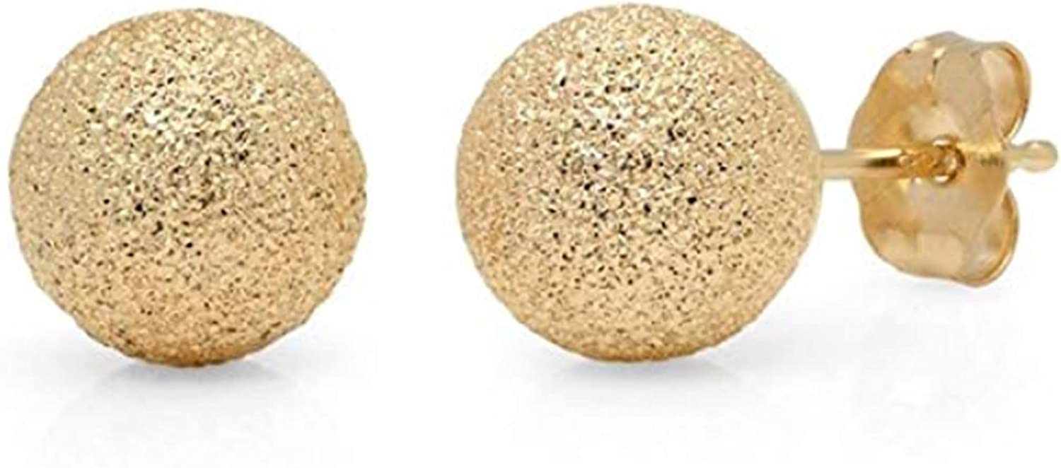 14K Yellow Gold Laser Cut 6mm Ball Studs Earrings- Glimmer Stardust Ball Earrings for Girls and Woman- Hypo-allergenic and nickel free