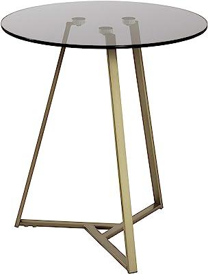 Haku Möbel Table d'appoint, Tube d'acier, Or-Gris, Ø 45 x 50 cm